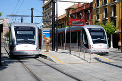 Trams in Seville city centre. Stock Images