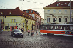 Trams on the street in Prague, public transport Royalty Free Stock Photography