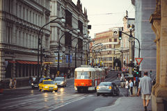 Trams on the street in Prague, public transport Stock Photos