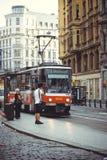Trams on the street in Prague, public transport. PRAGUE, CZECH REPUBLIC - JUNE 2016: Trams on the street in Prague, public transport Stock Photos