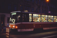 Trams on the street in Prague, public transport Royalty Free Stock Images