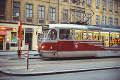 Trams on the street in Prague, public transport Royalty Free Stock Photo