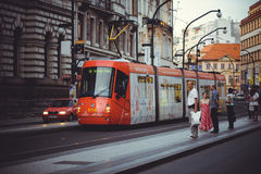Trams on the street in Prague, public transport Royalty Free Stock Photos