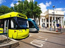 Trams by Theatre Royal, Npottingham. Royalty Free Stock Photos