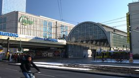 Traffic, people and trams on Karl-Liebknecht-Strasse by Alexanderplatz Train Station, Berlin, Germany. Trams And Traffic On Karl Liebknecht Strasse, Berlin stock video footage