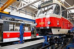 Trams in workshops in Depot Hostivar, Prague royalty free stock photos