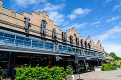 Tramsheds ist Sydney's der meiste aufregende Lebensmittelbestimmungsort, untergebracht im ehemaligen historischen Rozelle-Tram- lizenzfreies stockfoto