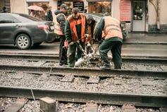 tramspoor Stock Foto