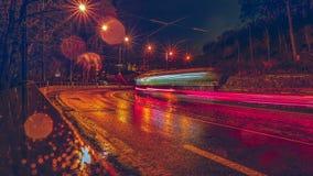 Tramspoor in de avond Praag royalty-vrije stock fotografie