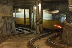 Tramspoor in de tunnel Stock Fotografie