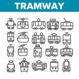 Tramspoor, Geplaatste Pictogrammen van de Stadsvervoer de Dunne Lijn stock illustratie