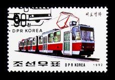Tramspoor - 1015, Internationale Zegeltentoonstelling - Essen - Bussen a royalty-vrije stock afbeeldingen