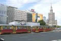 Tramspoor in Warshau, Polen Royalty-vrije Stock Fotografie
