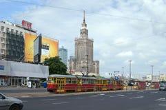 Tramspoor in Warshau, Polen Royalty-vrije Stock Afbeeldingen