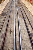 Tramsporen, de sporen van een detailmetaal voor de tram Stock Foto's