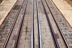 Tramsporen, de sporen van een detailmetaal voor de tram Royalty-vrije Stock Fotografie