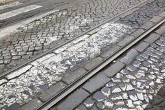 Tramsporen in Lissabon Royalty-vrije Stock Afbeelding