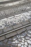 Tramsporen in Lissabon Stock Afbeeldingen