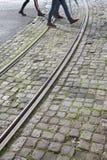 Tramsporen in Lissabon Stock Afbeelding