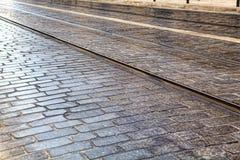 Tramsporen in LISSABON Stock Foto's