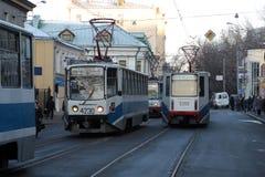 Tramsporen in Moskou Stock Afbeelding