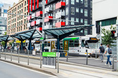 Tramstop in Carlton outside the University of Melbourne Royalty Free Stock Images
