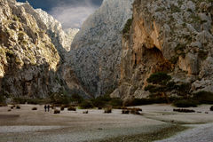 Tramuntana Mountain Majorca. The Tramuntana mountain and dry Torrent de Pareis in Majorca, Spain Stock Image