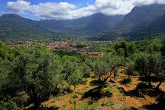Tramuntana mountain range. Mallorca, Balearic islands, Spain in July. Royalty Free Stock Images