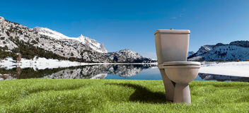 Tramuntana mountains and toilet Royalty Free Stock Photography
