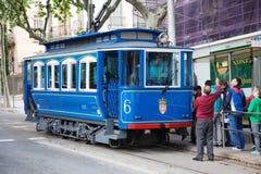 Tramvia Blau i Barcelona Arkivbild