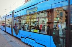 Tramwaj w Zagreb środkowym rynku Fotografia Royalty Free