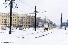 Tramwaj w zimy mieście Obrazy Stock