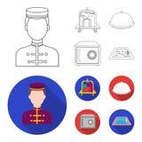Tramwaj z bagażem, skrytka, pływacki basen, sprzęgło Hotel ustalone inkasowe ikony w konturze, mieszkanie symbolu stylowy wektoro ilustracja wektor