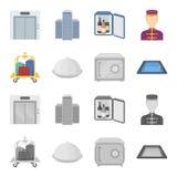 Tramwaj z bagażem, skrytka, pływacki basen, sprzęgło Hotel ustalone inkasowe ikony w kreskówce, monochromu stylowy wektorowy symb ilustracji