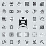 Tramwajowa ikona Szczegółowy set minimalistic kreskowe ikony Premia graficzny projekt Jeden inkasowe ikony dla stron internetowyc royalty ilustracja
