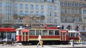 Tramwajowy caffe w Praga, Europa Obrazy Stock