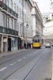 tramwajowy Lisbon kolor żółty Fotografia Royalty Free
