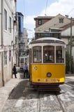 tramwajowy Lisbon kolor żółty Obrazy Royalty Free