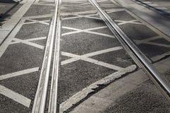 Tramwaju ślad na ulicie w Saragossa zdjęcia royalty free