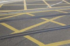 Tramwaju ślad na ulicie w Saragossa zdjęcia stock