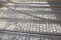 Tramwaju ślad w Lisbon Obrazy Royalty Free