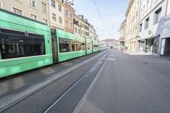 Tramway à Bâle, Suisse Photographie stock libre de droits
