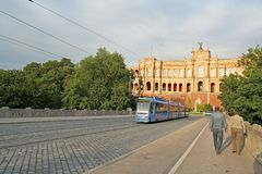 Tramway à Munich Photos stock