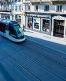 Tramway à Strasbourg d'en haut Photo stock