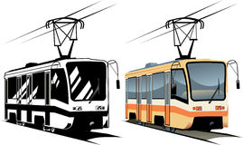 Tramway. Vector illustration of city tramway. Color, black and white Royalty Free Stock Images