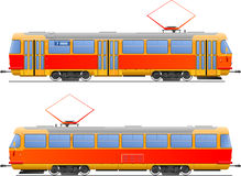Tramway. Illustration tram. side view. (Simple gradients only - no gradient mesh Royalty Free Stock Image