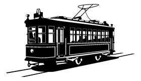 Tramway. Vector black and white illustration of  tram Royalty Free Stock Images