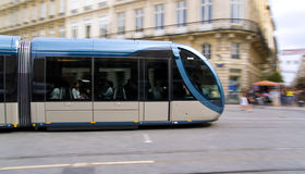 Tramway. Modern blue trolley in Bordeaux Royalty Free Stock Images