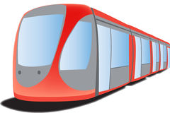 Tramway. A red tramway, travelling in the city Royalty Free Stock Photo