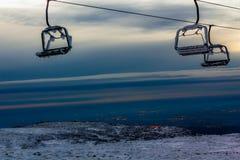 Tramway aérienne dans la chaîne de montagne Serra DA Estrela Image stock